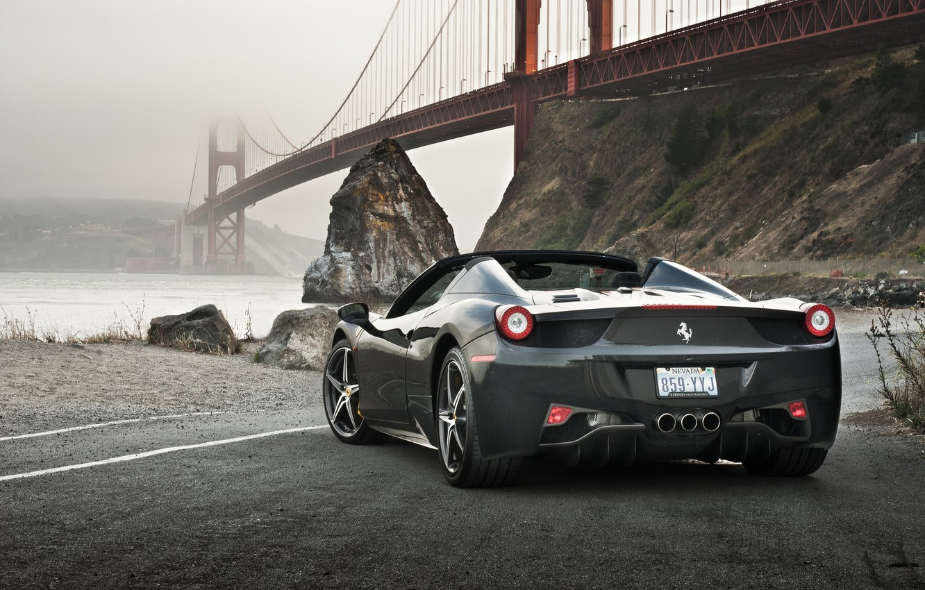 Photo wallpaper Ferrari, 458, Bridge, Water, Back, Gray, Spider, Supercar, Rocks