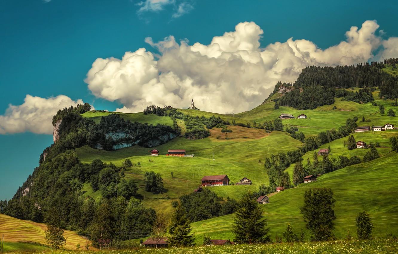 Photo wallpaper trees, mountains, home, Switzerland