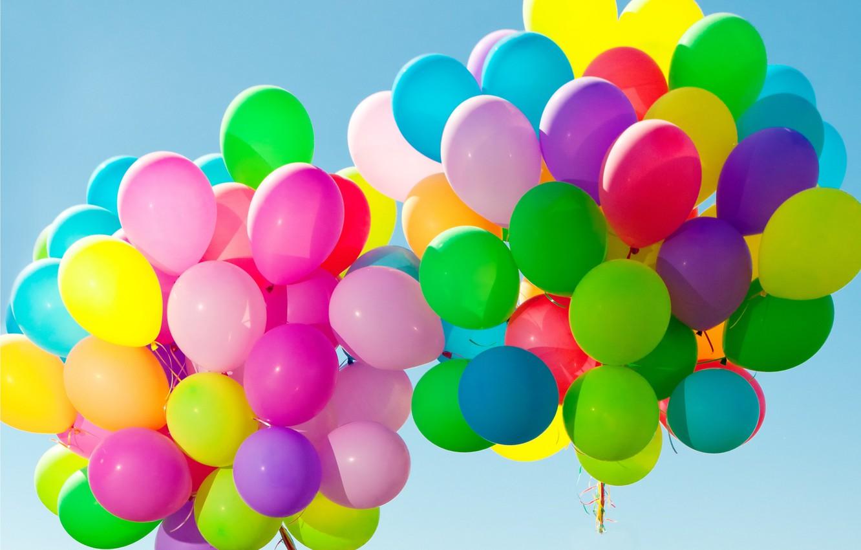 Photo wallpaper balls, balloons, colorful, happy, sky, balloons