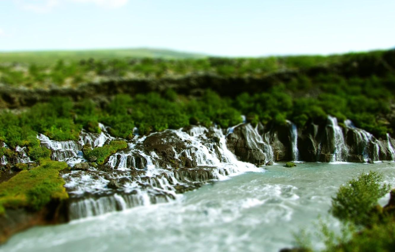 Photo wallpaper nature, river, waterfalls, tilt shift, boulders, tilt shift