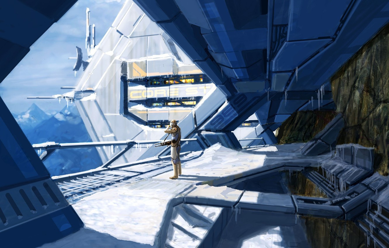 Photo wallpaper cold, weapons, people, station, icicles, art, security, mass effect