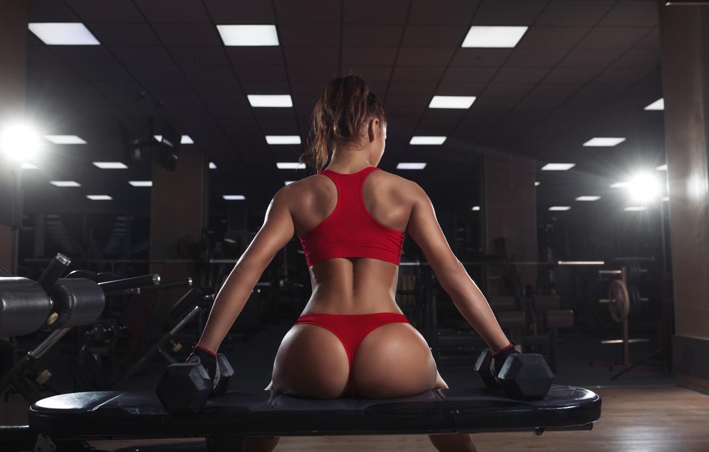 Photo wallpaper hot, sexy, ass, model, butt, workout, fitness, dumbbells