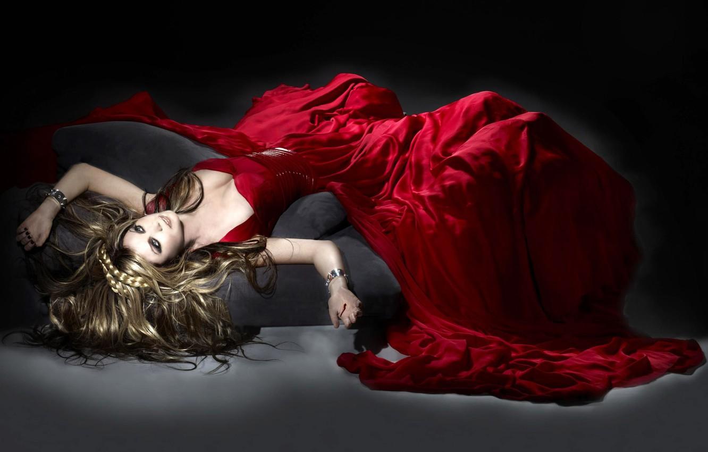 Photo wallpaper girl, blood, dress, red dress