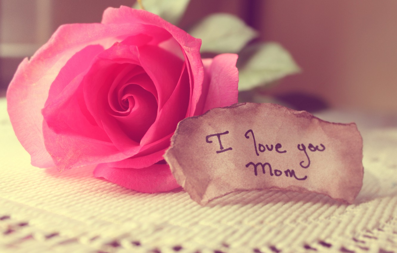 Photo wallpaper love, rose, note, words, mom, tablecloth