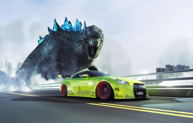 Photo wallpaper GTR, Nissan, Green, Speed, Godzilla, R35, Liberty, Walk