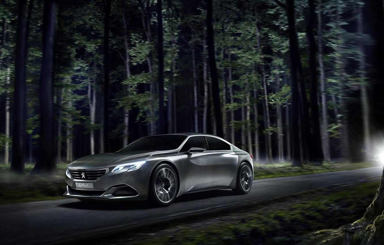 Photo wallpaper Concept, Peugeot, Car, Road, 2014, Ligth, Nigth, Exalt, EU-Version