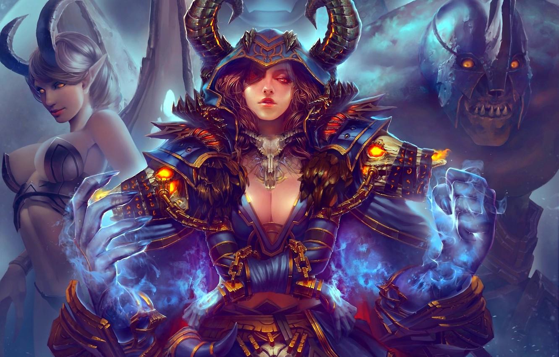 Photo wallpaper girl, magic, wings, monster, the demon, art, horns, chain, handcuffs, world of warcraft, armor, haoyuan
