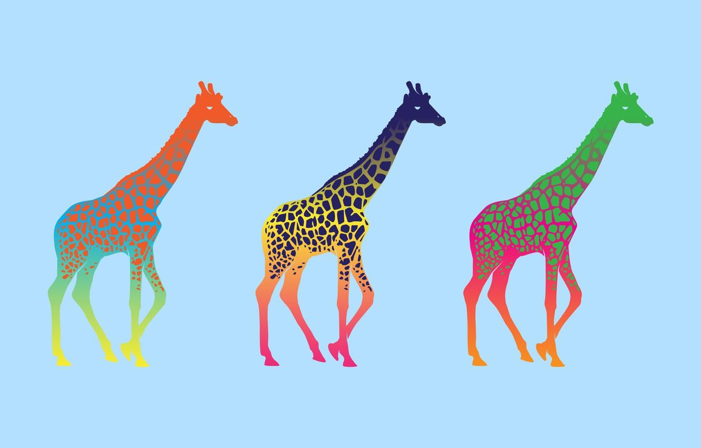 Photo wallpaper minimalism, giraffe, colorful, giraffe, pop art