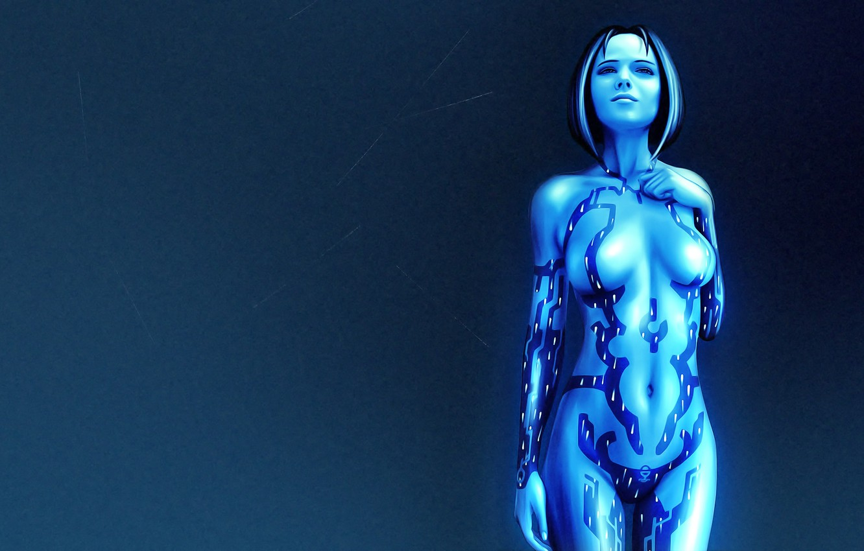 Photo wallpaper girl, Halo, hologram, Cortana