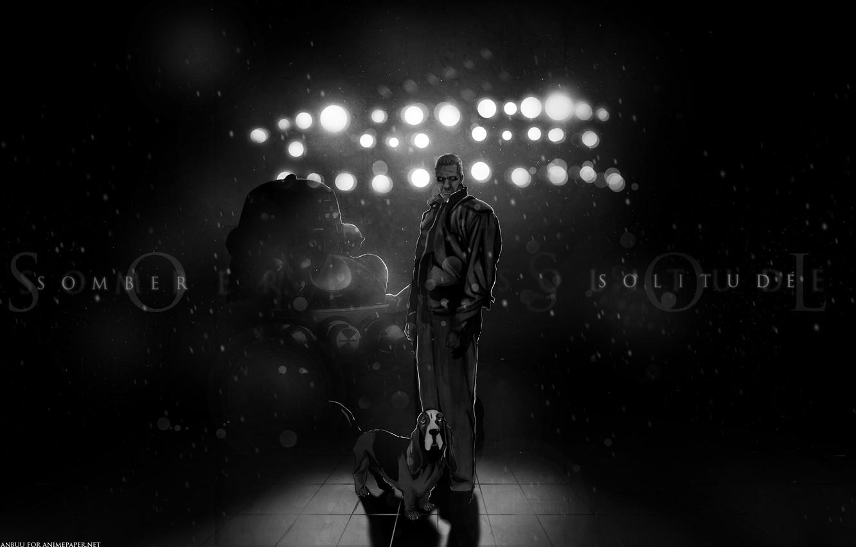 Photo wallpaper dog, dark, black, Ghost in the shell, ghost in the shell, tachikoma, dog, Bateau