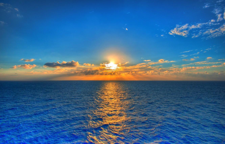 Photo wallpaper sea, the sky, the sun, landscape, sunset, nature