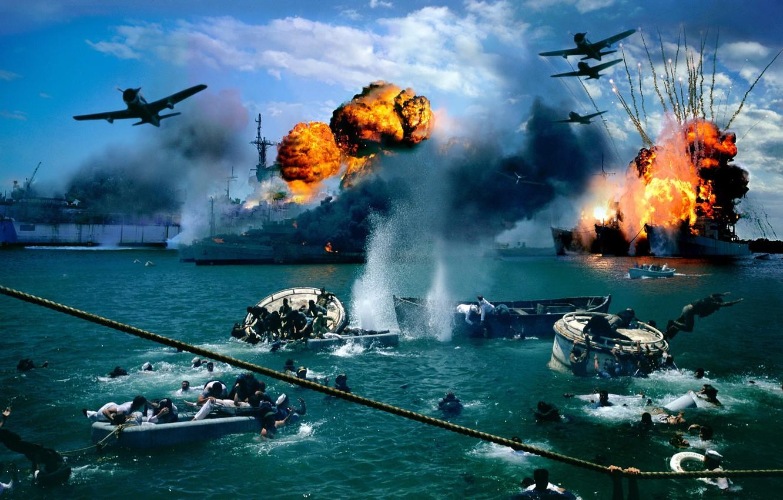 Photo wallpaper SHIPS, WAR, FIGURE, BOATS, AIRCRAFT, EXPLOSIONS, SHOTS, Pearl, Pearl, SAILORS, ATTACK, ATTACK, Harbor, Harbor