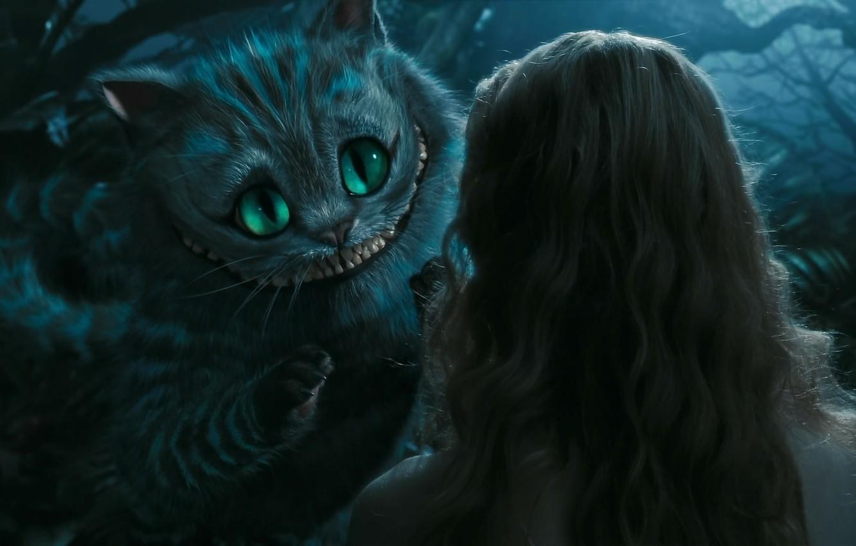 Photo wallpaper cat, hat, Alice in Wonderland, Cheshire cat, Cheshire