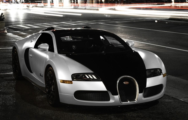 Photo wallpaper city, Bugatti, veyron, light, white, supercar, black, night