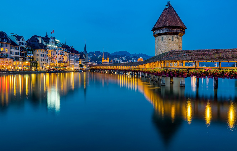 Photo wallpaper bridge, reflection, river, building, tower, Switzerland, night city, Switzerland, Lucerne, Lucerne, Reuss River, the the …