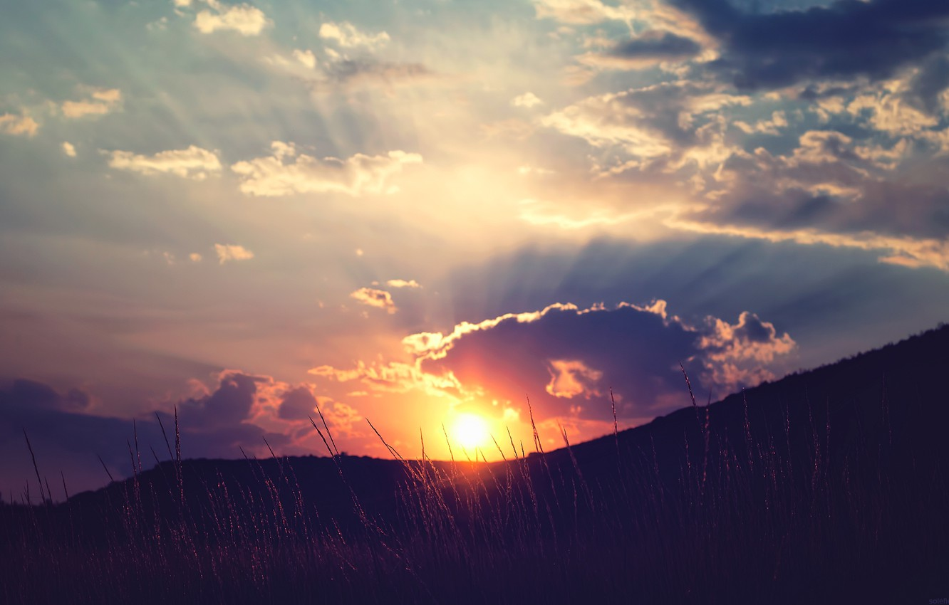 Photo wallpaper the sky, grass, the sun, clouds, rays, sunset, hills