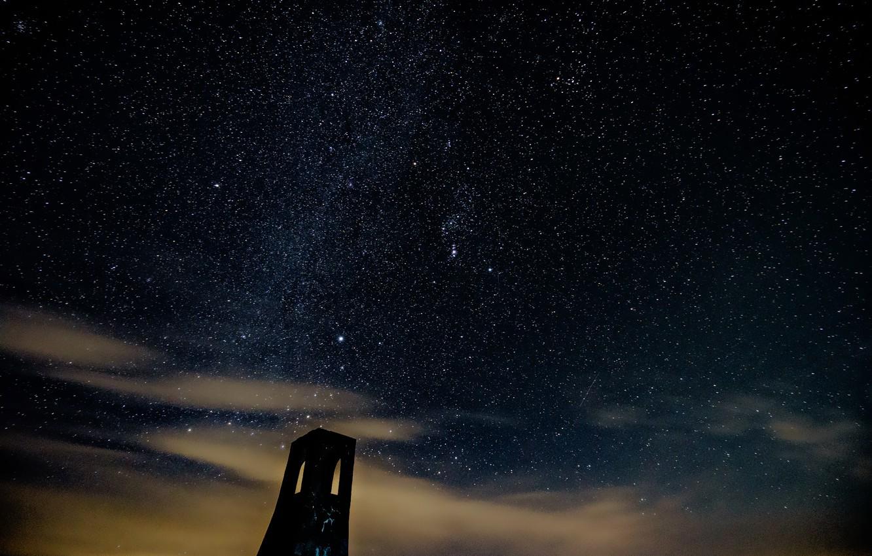 Photo wallpaper space, stars, night, tower