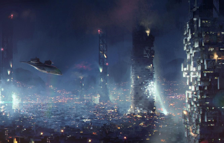 Photo wallpaper the city, fiction, cyberpunk, aircraft, art, square enix, deus ex, eidos montreal, Deus Ex: Mankind …