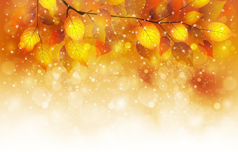 Photo wallpaper autumn, leaves, bubbles, sprig, glitter