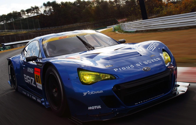 Photo wallpaper Blue, Subaru, Machine, Race, Movement, Car, Race, Car, Blue, Subaru, Racing track, QUICK, BRZ, GT300