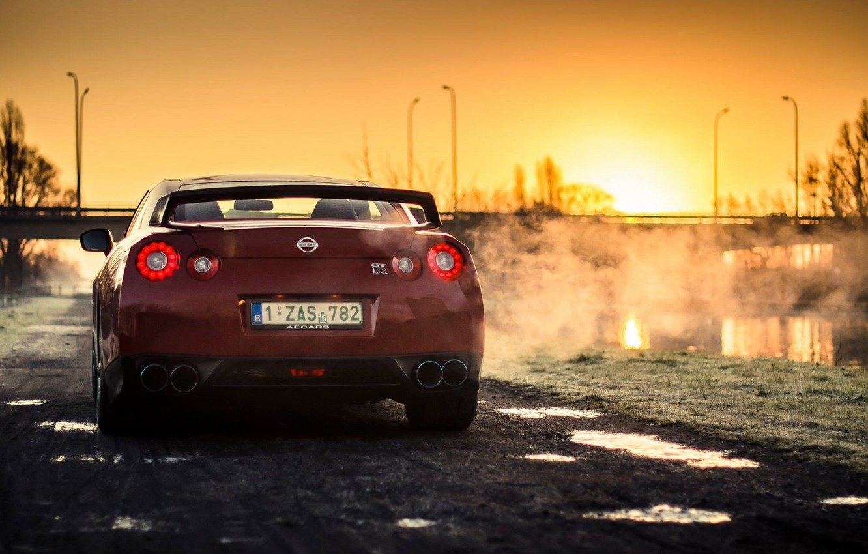 Photo wallpaper Nissan, Red, GT-R, Car, Sun, Sunset, Back, R35, Sport, Rear