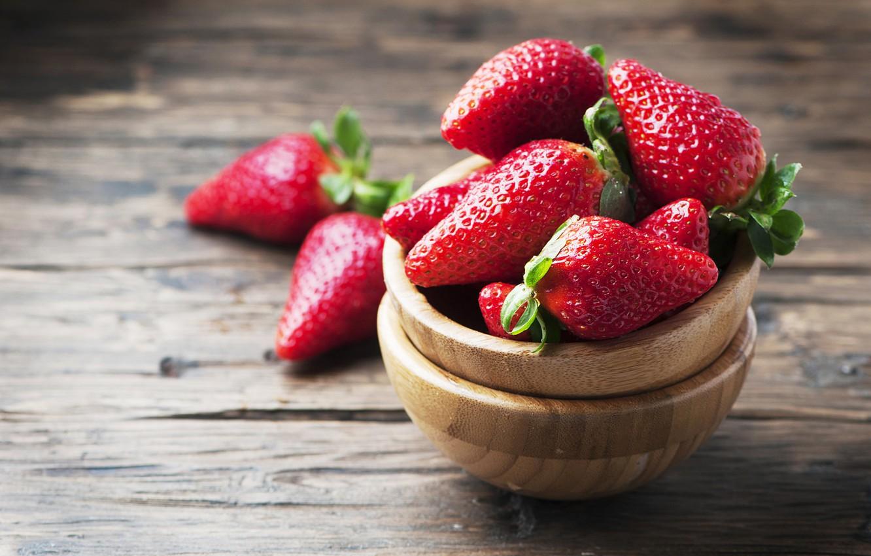 Photo wallpaper berries, Board, strawberry, bowls