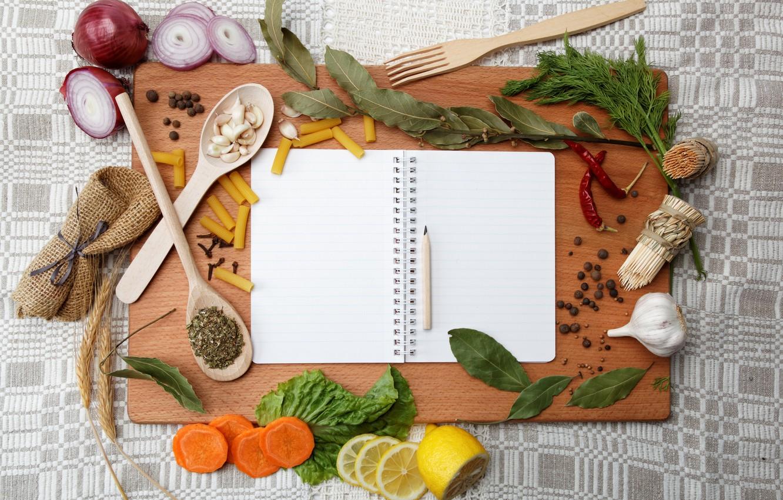 Photo wallpaper lemon, bow, dill, spoon, pencil, notebook, carrots, garlic, pasta, Bay leaf, pepper, blades