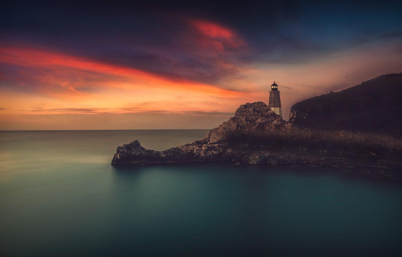 Photo wallpaper sea, the sky, rocks, shore, lighthouse