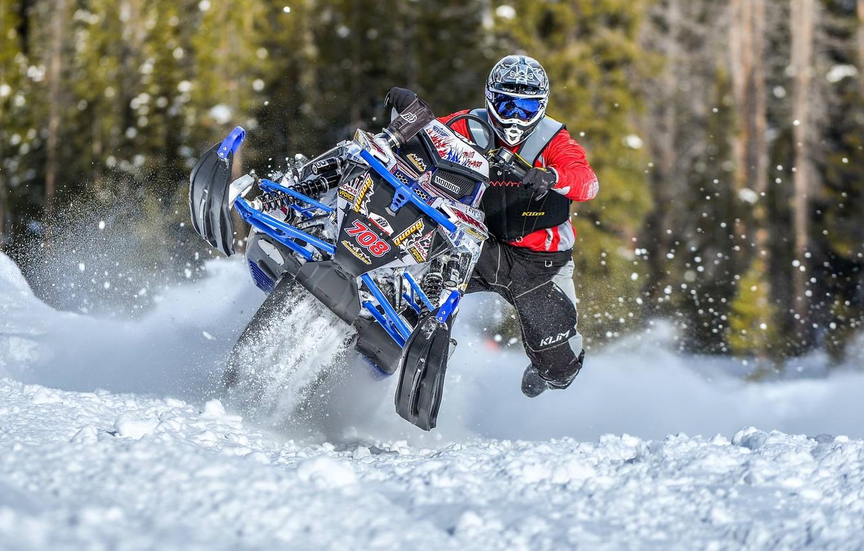 Photo wallpaper blue, jump, Snow, Snow, snowmobile, Polaris, snowmobile,