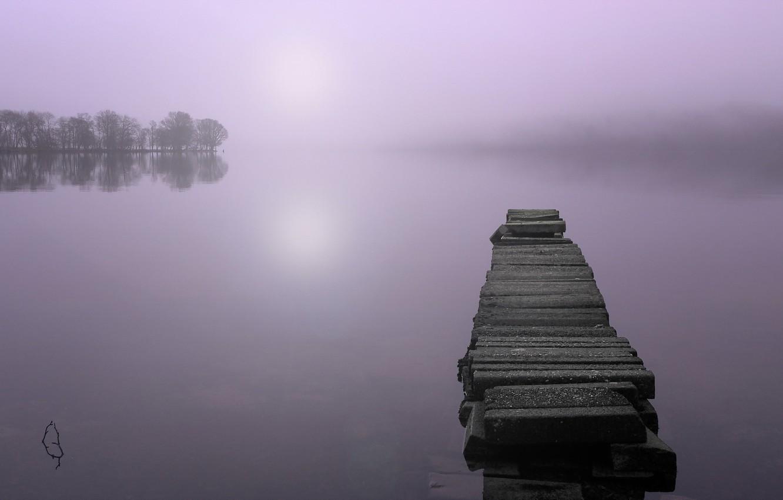 Photo wallpaper landscape, bridge, fog, lake, morning