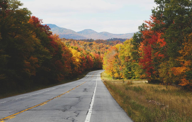 Photo wallpaper road, autumn, asphalt, trees, hills