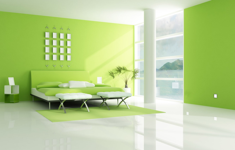 Photo wallpaper white, interior, green