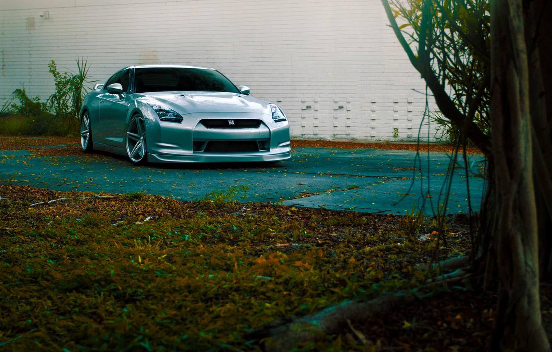 Photo wallpaper GTR, Nissan, Front, Color, R35, Vossen, Silver, Wheels, CV5