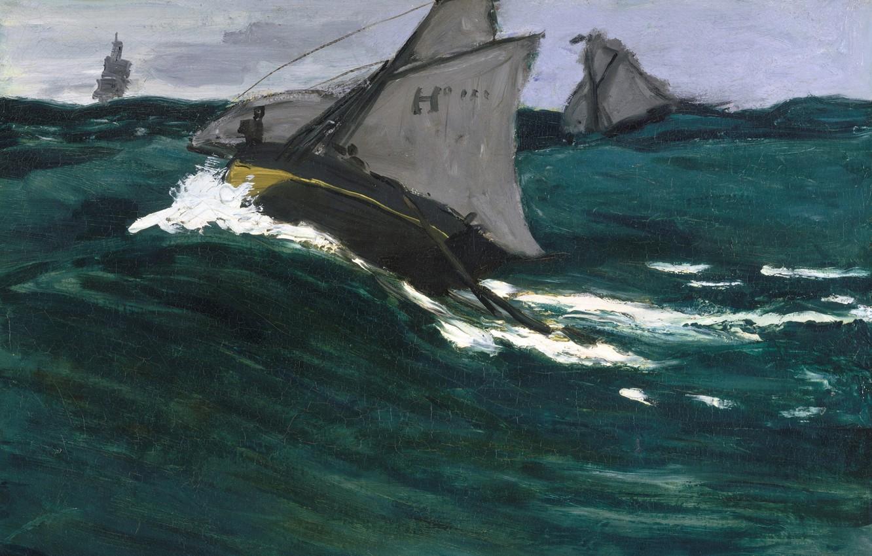 Photo wallpaper sea, boat, picture, sail, seascape, Claude Monet, Green Wave