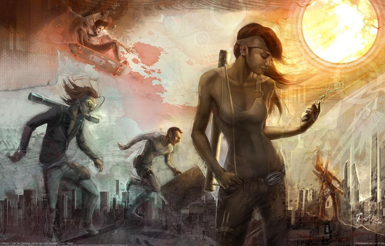 Photo wallpaper girl, the sun, the city, figure, art, guys, skateboard, ivan tao