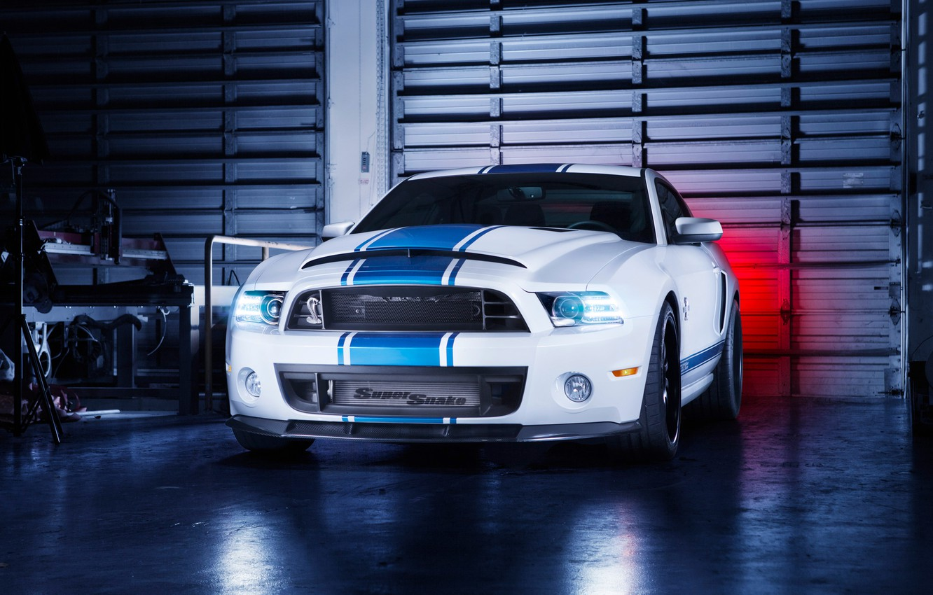 Photo wallpaper Mustang, Ford, Shelby, GT500, Front, Snake, White, Super