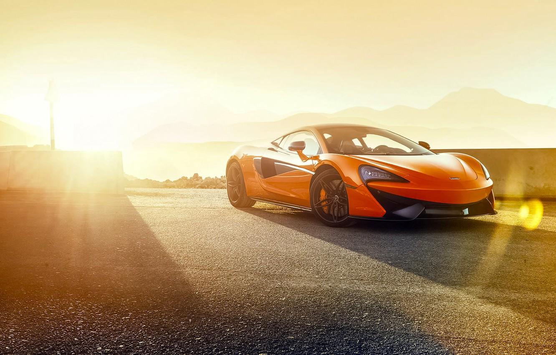 Photo wallpaper McLaren, Orange, Race, Power, Front, Supercar, Track, 570S