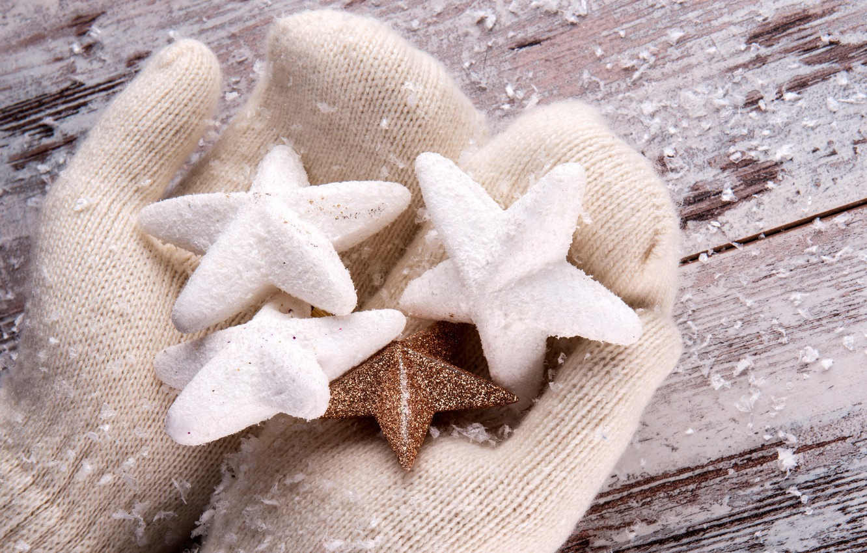 Photo wallpaper winter, stars, snow, mittens