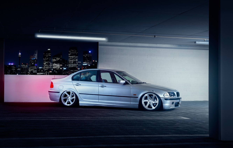Photo wallpaper BMW, Car, Front, E46, Sport, Parking, Stance