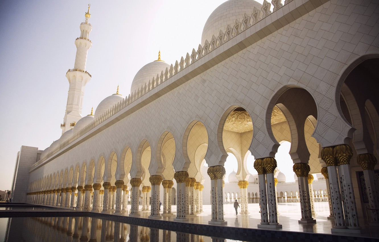 Photo wallpaper area, arch, dome, Abu Dhabi, the minaret, Abu Dhabi, the Sheikh Zayed Grand mosque