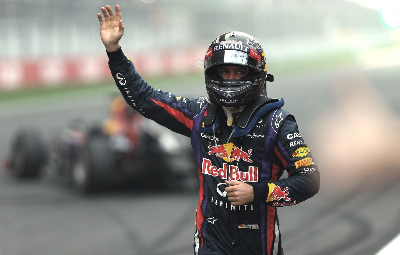 Photo wallpaper Renault, the car, Victory, Formula 1, Red Bull, Vettel, Champion, India, 4x