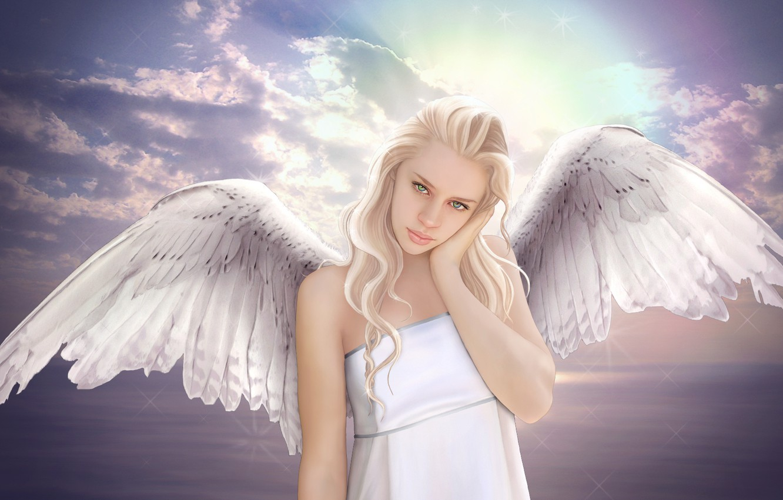 Photo wallpaper sea, the sky, look, girl, clouds, fiction, wings, angel, blonde, green eyes