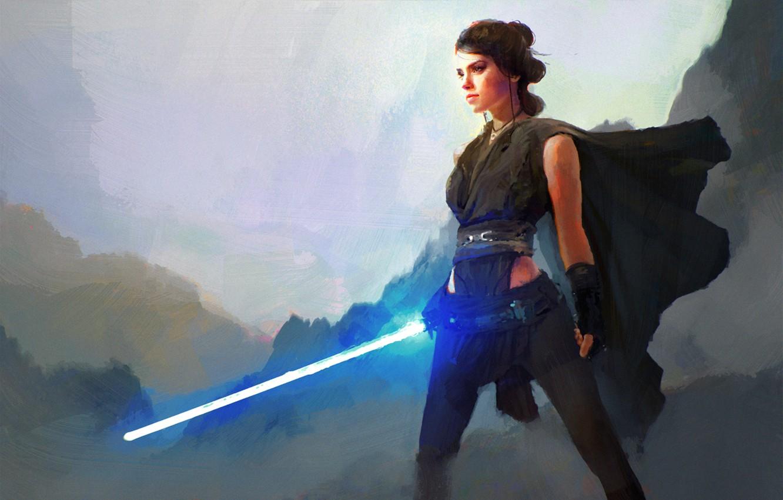 Wallpaper Star Wars Art Lightsaber Star Wars Episode Vii The Force Awakens Rey Star Wars The Force Awakens Images For Desktop Section Filmy Download