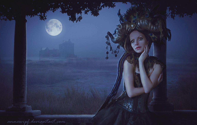 Photo wallpaper Girl, Look, The moon, Hair, Fiction