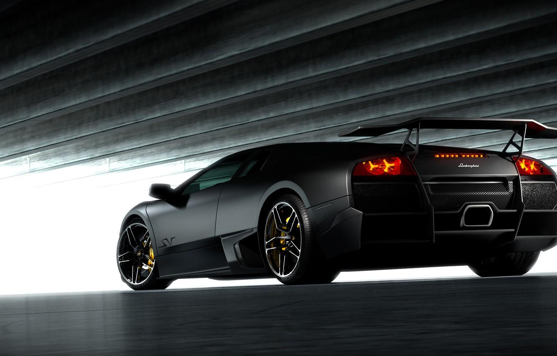 Photo wallpaper black, Lamborghini, Matt, black, Lamborghini, Murcielago, LP670-4, Lamborghini, the rear part, murciélago