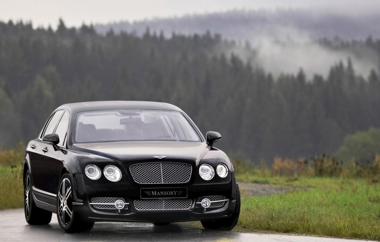 Photo wallpaper Auto, Bentley, Black, Machine, Sedan, Lights, flying, the front, Suite