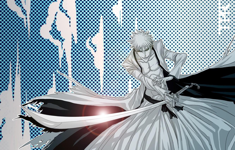Photo wallpaper sword, game, Bleach, anime, katana, man, boy, bankai, asian, Kurosaki Ichigo, manga, japanese, yellow eyes, …