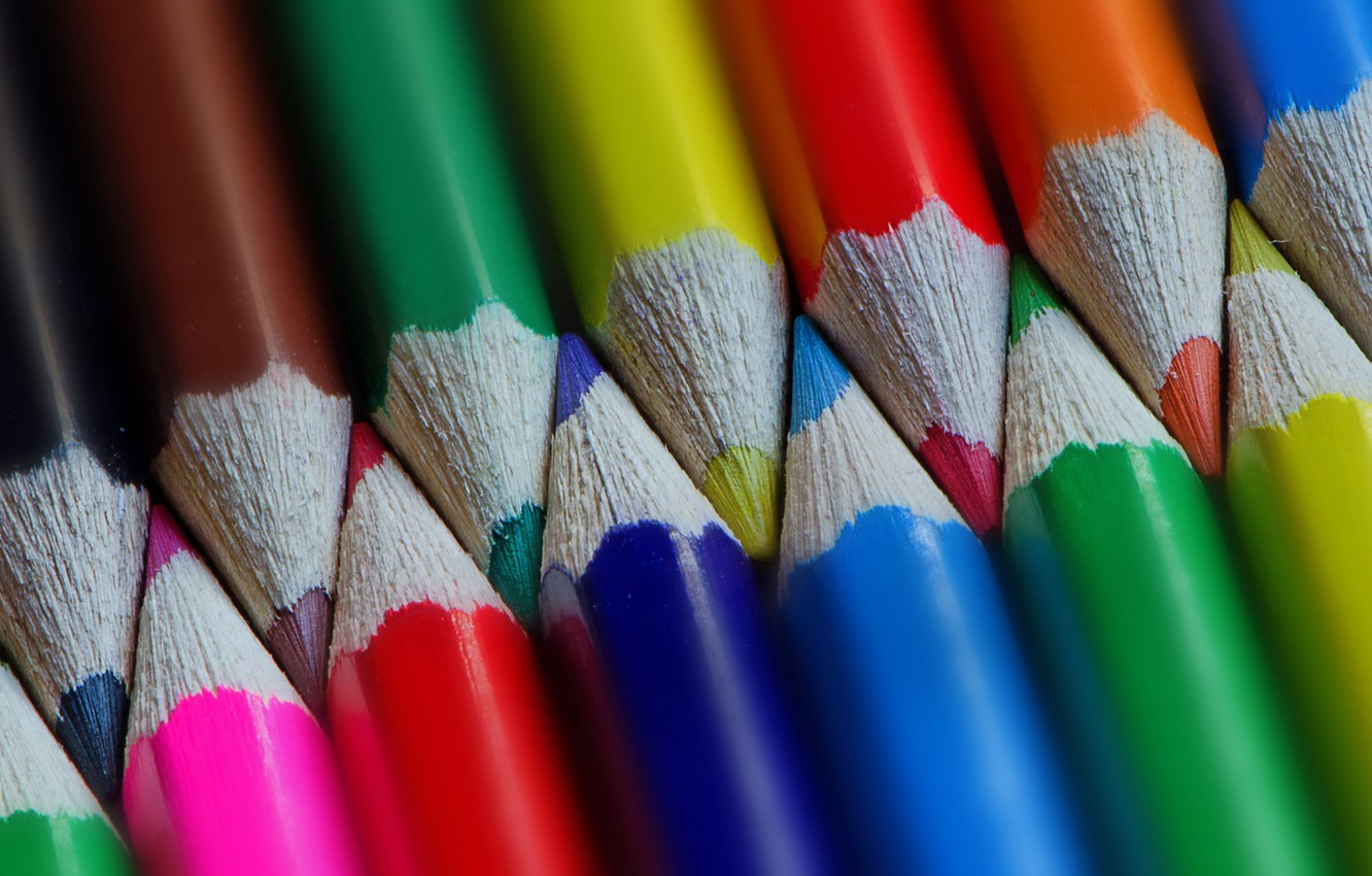 Photo wallpaper macro, color, pencils