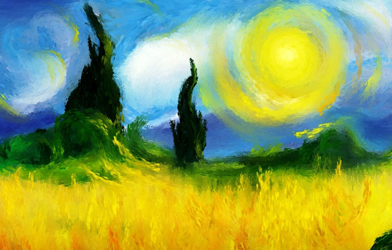 Wallpaper Picture Art Sunny Day Starry Night Van Gogh In