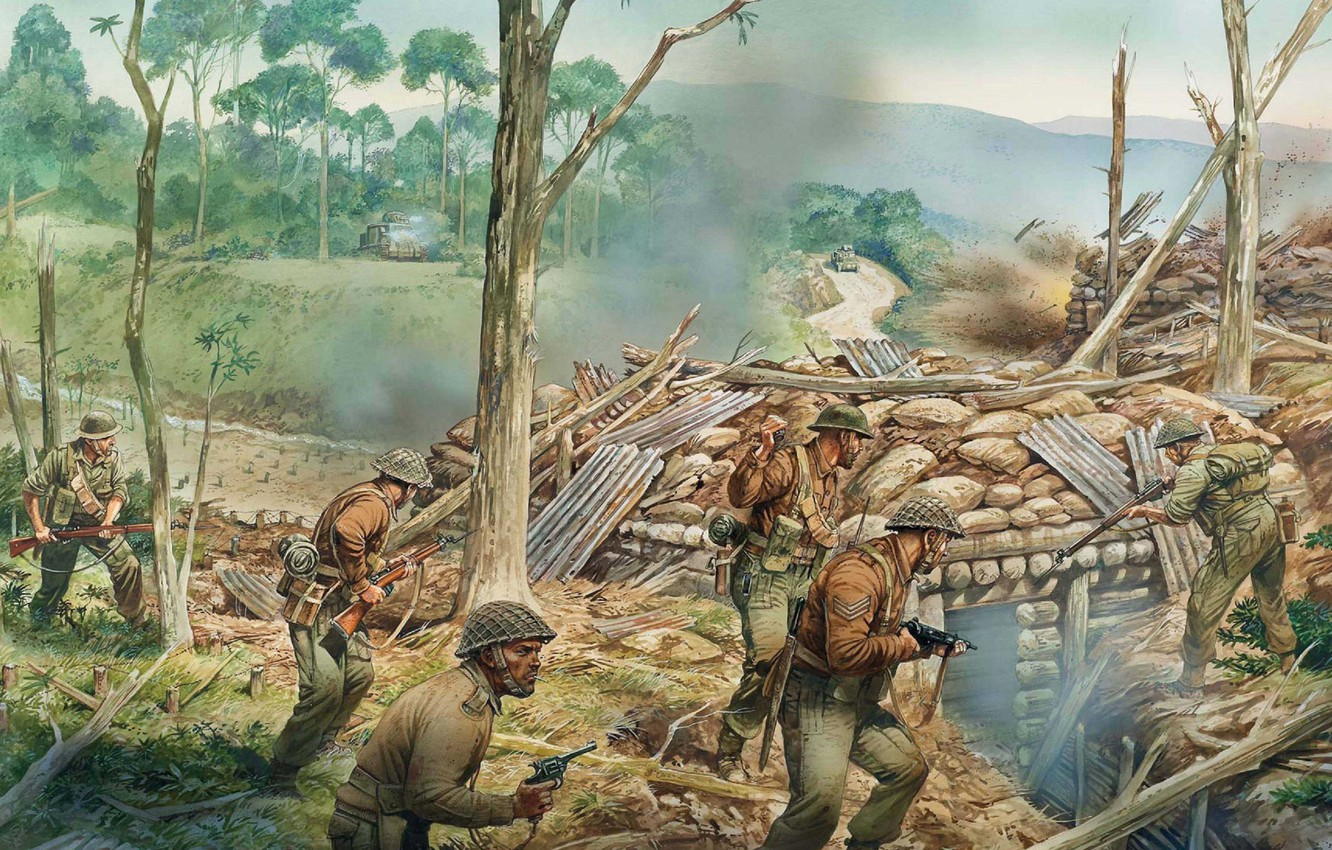 Wallpaper City Art Soldiers Battle The Battle Army Values Between April Ww2 British Army 1944 Turning Burmese Kachinska Images For Desktop Section Oruzhie Download
